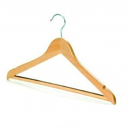 Broad Wooden Wishbone Hanger with Non-Slip Bar