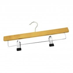 Wooden Hanger with Drop Bar & Non-Slip Clips
